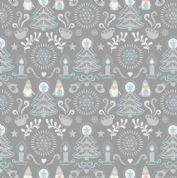Lewis & Irene - Hygge Christmas - 5980 - Elves & Winter Motifs on Grey  - C28.1 - Cotton Fabric